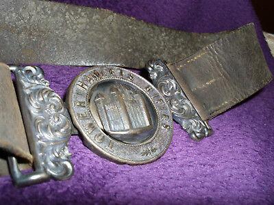 Rare Victorian Silver Tower Hamlets Rifles Officers Belt Buckle & Belt/Militaria 10