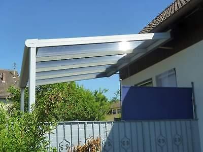 Terrassendach Alu Sonnenschutz-Stegplatten klar Terrassenüberdachung 6 m breit 7