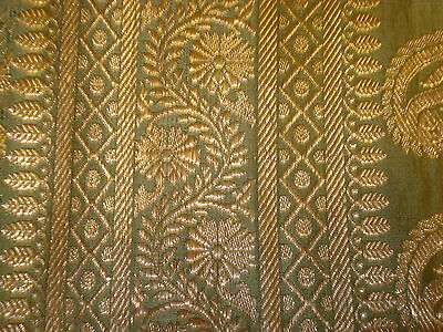 Bn Ladies Green & Gold Banarsee Saree With Heavy Border With Blouse Piece 9