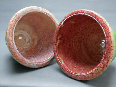 Accolay 1950 Paire Cache Pot Vintage Vert Faience Vase Ceramique Blin Capron Era 3