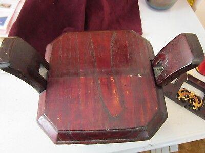 Antique Chinese Wedding Basket Hidden Wood Lock w/Gold Carved Figures Brass Band 7