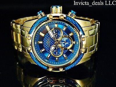 Invicta Men's 50mm SPEEDWAY SCUBA Chronograph Sapphire Blue Gold Tone SS Watch 6