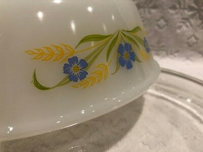 Vintage A-H Fire-King '64-66; RARE FORGET-ME-NOT Clear-Lidded 1 1-2 QT Casserole 12