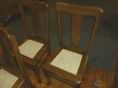 Antique Oak Chairs Set of 4 T-backs 1920's cane seats refinished 11