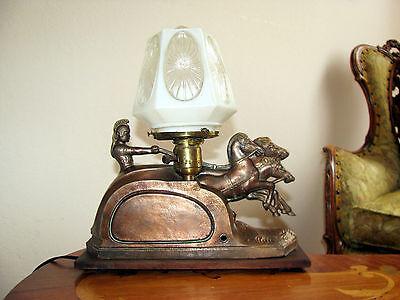 Vtg Art  Deco Frankart Era Egyptian Lamp Glass Shade Chandelier Light Fixture 7