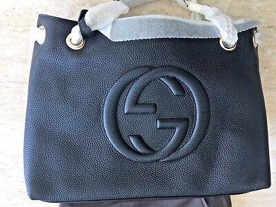 663ef417e ... Gucci Soho Black Medium Double Chain Shoulder Bag Leather Shoulder  Italy New Bag 2