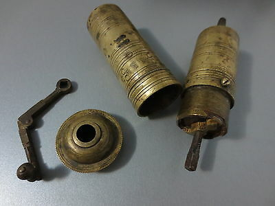 Primitive Antique Ottoman Brass-Carved LOTS of TUGRA Hand Coffee Grinder 19th C.