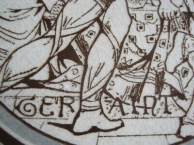 ANTIQUE MINTON - MOYR SMITH - TENNYSON'S IDYLLS OF THE KING TILE - GERAINT c1876 2