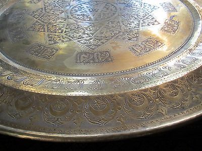 "Gorgeous Antique Persian Islamic Engraved Copper Tray 38"" / 97cm/ 14lbs 2"