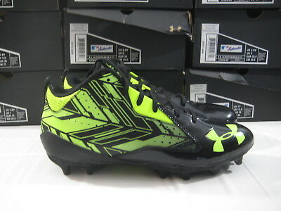 New Under Armour Ripshot Mid MC LaCrosse Cleats Men's Size 12 UA Black Yellow