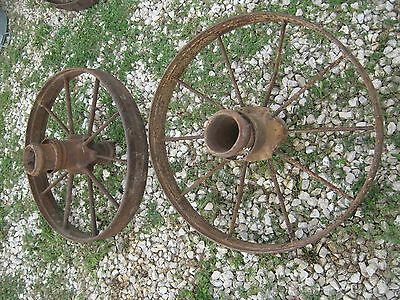 "Pair Vintage Rustic Iron Farm Implement Wheel Farm decor 28"" diameter 4"" thick 2"