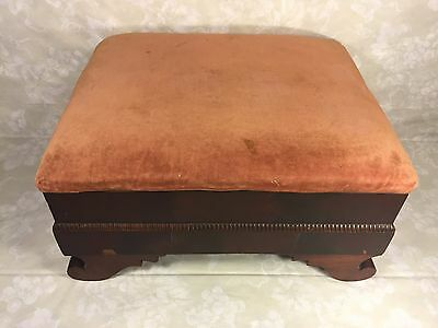 Antique Empire Mahogany Footstool w/ Upholstered Top 7