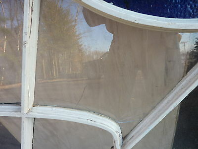 """HUGE gable END stain GLASS arched WINDOW oak FRAME spiderweb design 63 x 43"""" 8"""