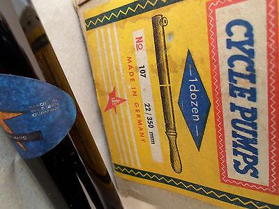 "valve made in Germany70s British Vintage NOS Plastic Bicycle Pump SKS 20/"" Wood"