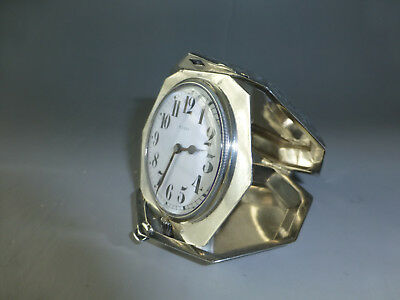 Antique Swiss Engraved Sterling Silver 8 Day 15 Jewel Mechanical Wind Up Clock 4