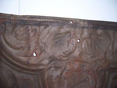 "Antique Black Paint Metal Tin Ceiling Tile 24"" X 24"" Sheet Panel Reclaim Salvage"