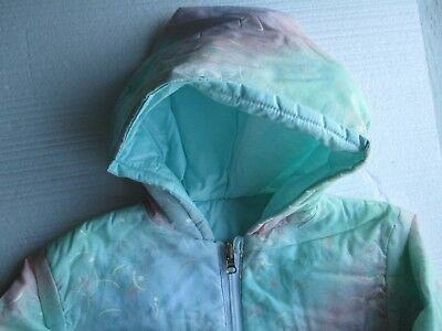 New Girl's Jacket in green with hood and pockets reversible style   4/5 year 2