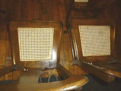 Antique Oak Chairs Set of 4 T-backs 1920's cane seats refinished 5