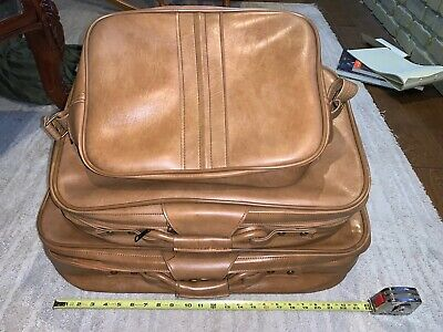 Vintage SCOVILL SUITCASE Tan Faux Leather (3) Piece Luggage 2