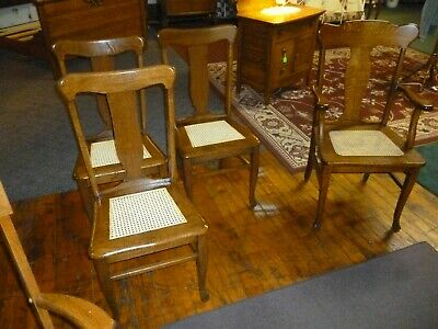 Antique Oak Chairs Set of 4 T-backs 1920's cane seats refinished 2
