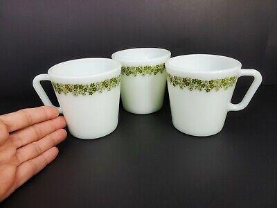 Vintage Retro 3 Pyrex Green Flowers No 1410 Mugs Coffee Cups 300 ml 10.14 oz. 7