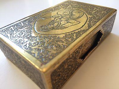 Classic Cigarette Box - 19th Ct. Persian Qajar - Signature Brass Engraved Design 5