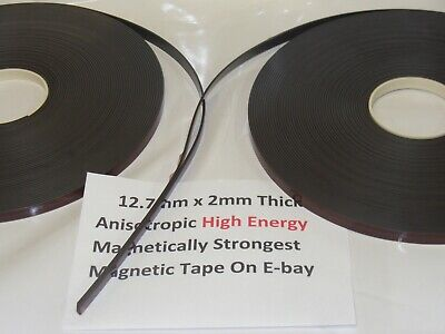 Magnetic Tape,Strip Self Adhesive 12.7mm x 2mm  Anisotropoic Strong High Energy 7