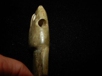 Pre-Columbian Jade Avian Axe God, Owl Axe God Pendant, Authentic, Very Large 2