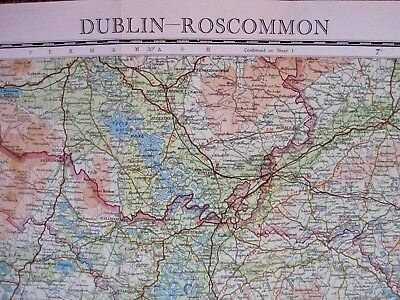 Brexit Future Borders? DUBLIN & ROSCOMMON MAP, 1951,  on cloth, by Bartholomew. 4