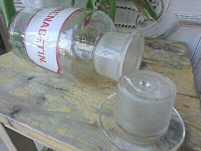 Apotheker antik Glas Flasche Apothekerflasche Etikett gemalt super als Vase 5