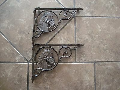 New Lot 2  Antique Style Cast Iron Horse Brace Western Shelf Brackets Braces 2