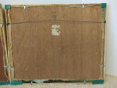 2 Antique Asian Framed Hand Paintings On Silk Behind Glass Bamboo Type Frame 6