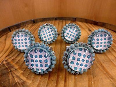6 BLUE SUN FLOWER GLASS DRAWER CABINET PULLS KNOBS VINTAGE chic garden hardware 2