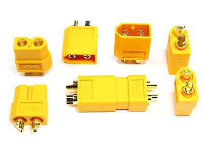 10 Stück (5 Paar) XT60 Nylon ESC Lipo Akku Stecker Buchse + Schrumpfschlauch 60A 4
