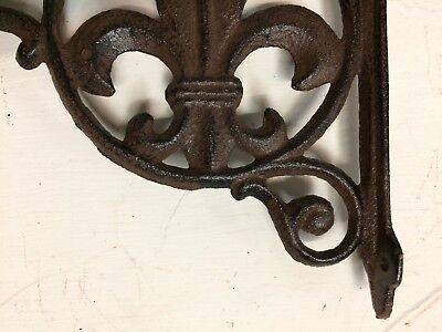 SET OF 4 FLEUR DE LIS SHELF BRACKET BRACE, Antique Brown Finish cast iron 6