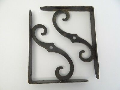 Vintage Pair Used Black Iron Wall Hanging Shelf Brackets Holders Parts 11