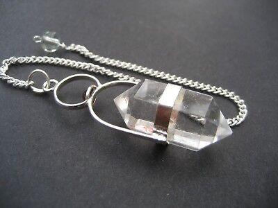 Herkimer Clear Quartz + Garnet Cab Crystal Gemstone w/ Chain Precision Pendulum 4