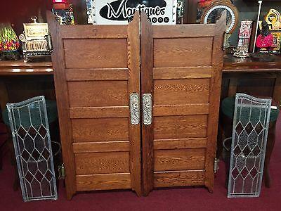 "Early 1900s Oak Bar Saloon Doors with Glass Side Panels  ""Watch Video"" 6"