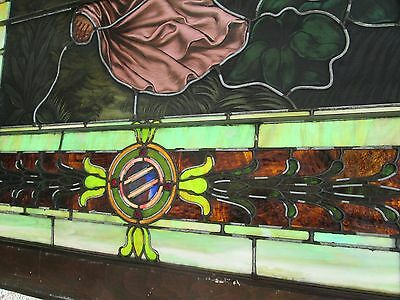 10.5' Monumental Jeweled Antique Stained Glass Portrait Window  Ny Estate # 1 4