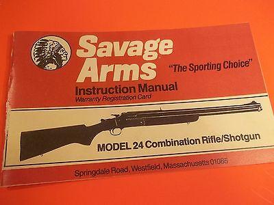 Savage Arms Owners Instruction Manual Model 24 Combo Rifleshotgun