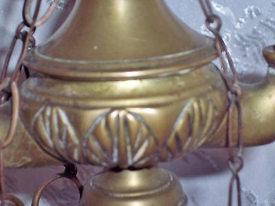"Antique 19C Italian Brass ""Lucerna"" Table Oil Lamp w/Snuffer & Tweezers, H 20.5"" 8"