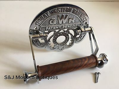 Victorian Toilet Roll Holder Novelty Chrome Unusual GWR Vintage Design Silver 9
