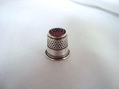 Alter Fingerhut 800 Silber mit lila Glaskopf old silver Thimble / ap 591 2