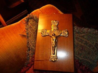Modernist Mid Century Vintage Wall Crucifix Cross Jesus Christ Wood - Art Brass