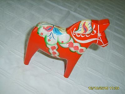 "Vtg Swedish Red Dala Horse 6"" Grannas Olssons Label Hand Carved/painted Folk Art"