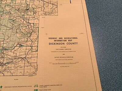 Vintage 1974 Dickerson County Michigan  DNR Highway & Recreation Information Map 2