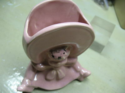 BABY w/ LARGE  BONNET  PLANTER   PIINK CERAMIC MARKED 219 USA  NO DAMAGE