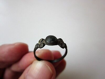 ancient late Byzantine/Medieval bronze ring,decorated with stone/glass. X-XIV AD 3