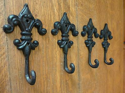 "4 BROWN ROYAL FLEUR DE LIS FINIAL WALL HOOKS 6.5"" ANTIQUE-STYLE CAST IRON decor 2"