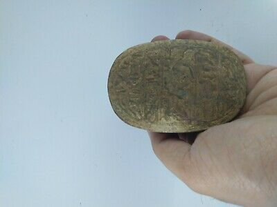 ANCIENT EGYPTIAN ANTIQUE SCARAB Carved White Carved Stone 1456-1256 BC 10